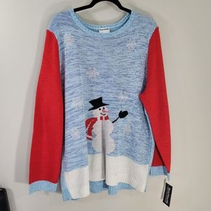 NWT Bon Worth Winter Season Snowman Christmas Holiday Scoop Neck Sweater Size XL